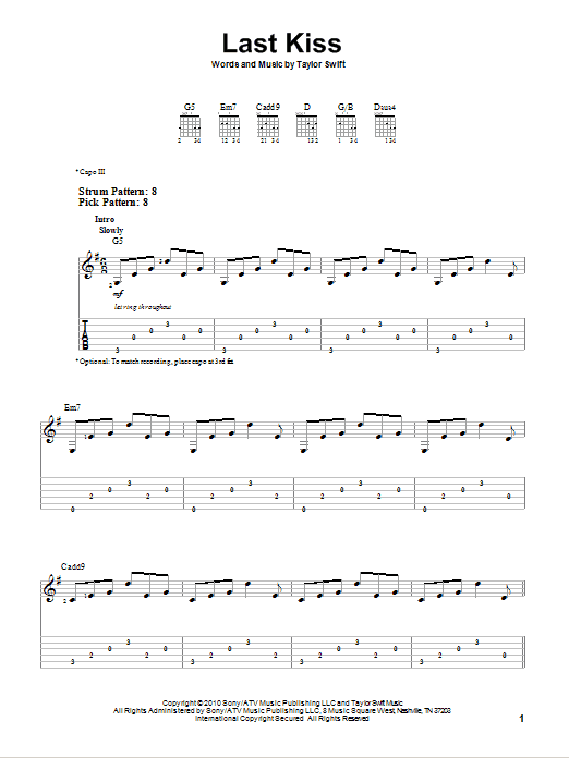 Tablature guitare Last Kiss de Taylor Swift - Tablature guitare facile