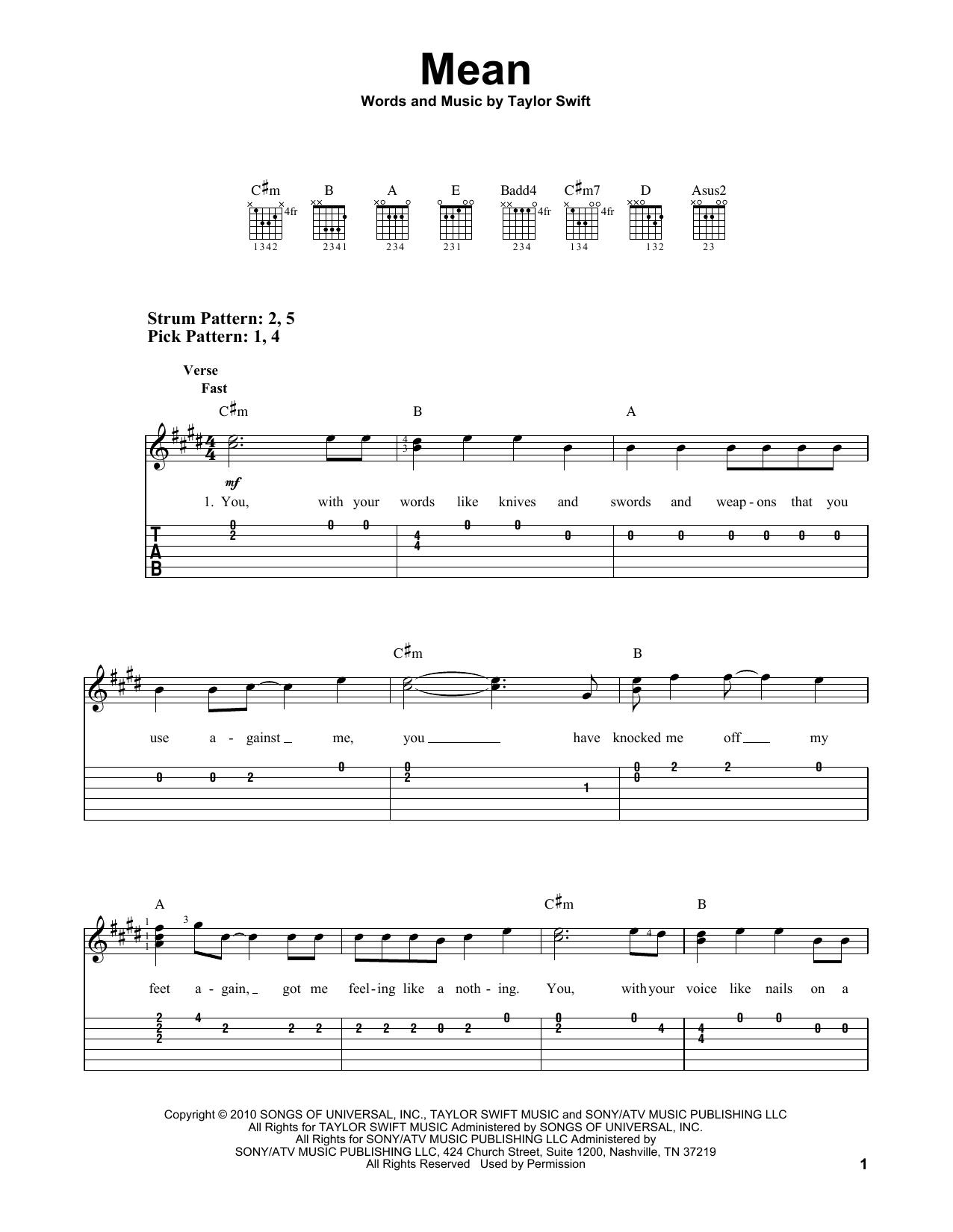 Tablature guitare Mean de Taylor Swift - Tablature guitare facile