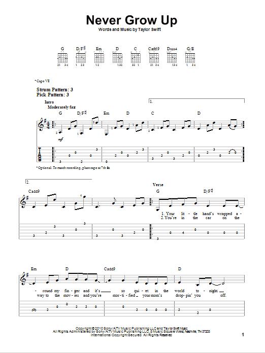 Tablature guitare Never Grow Up de Taylor Swift - Tablature guitare facile