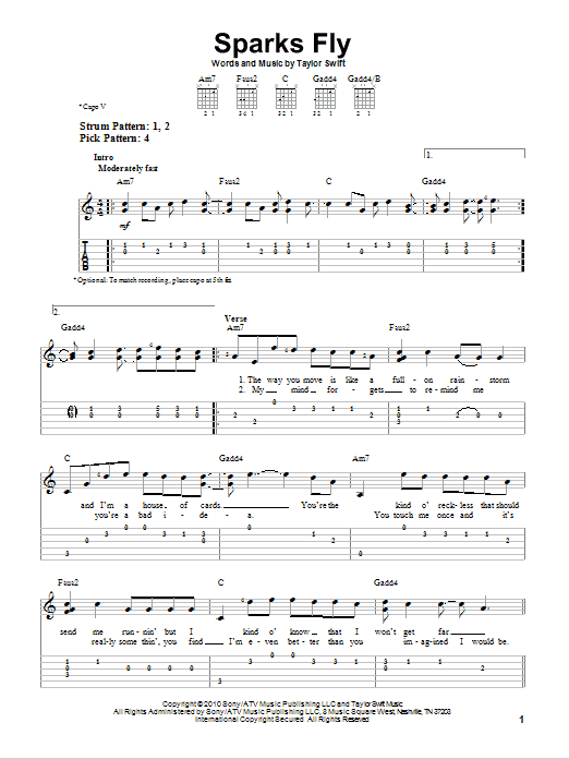 Tablature guitare Sparks Fly de Taylor Swift - Tablature guitare facile