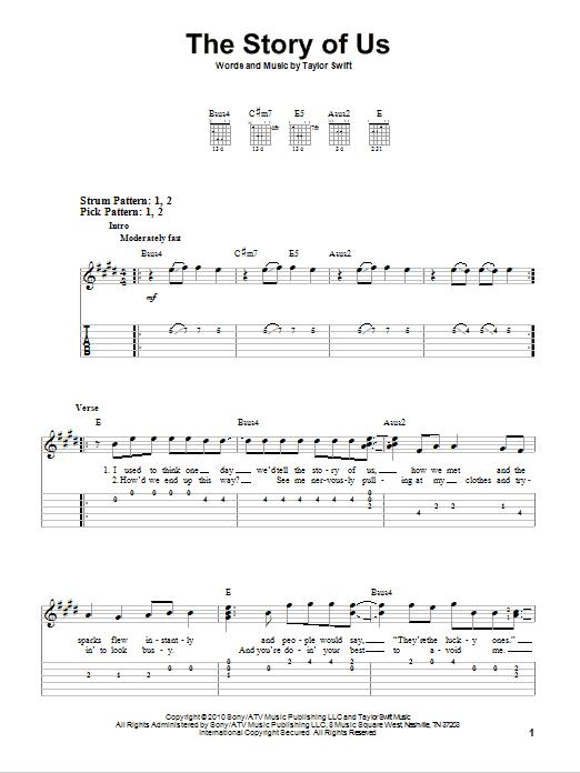 Tablature guitare The Story Of Us de Taylor Swift - Tablature guitare facile
