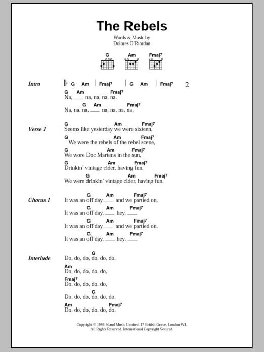 The Rebels sheet music for guitar solo (chords, lyrics, melody) by Dolores O'Riordan