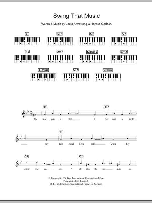 Swing That Music sheet music for piano solo (chords, lyrics, melody) by Horace Gerlach