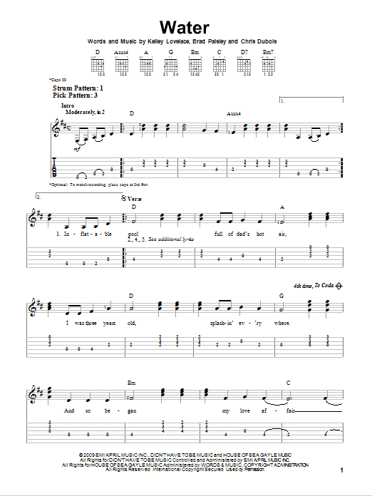 Tablature guitare Water de Brad Paisley - Tablature guitare facile