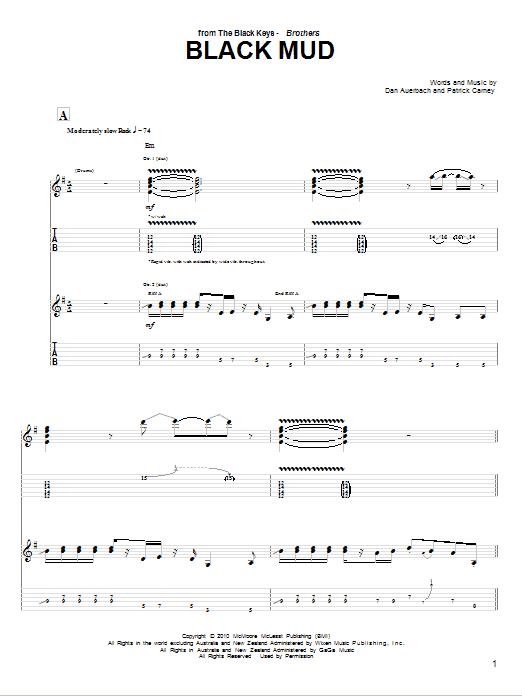 Tablature guitare Black Mud de The Black Keys - Tablature Guitare