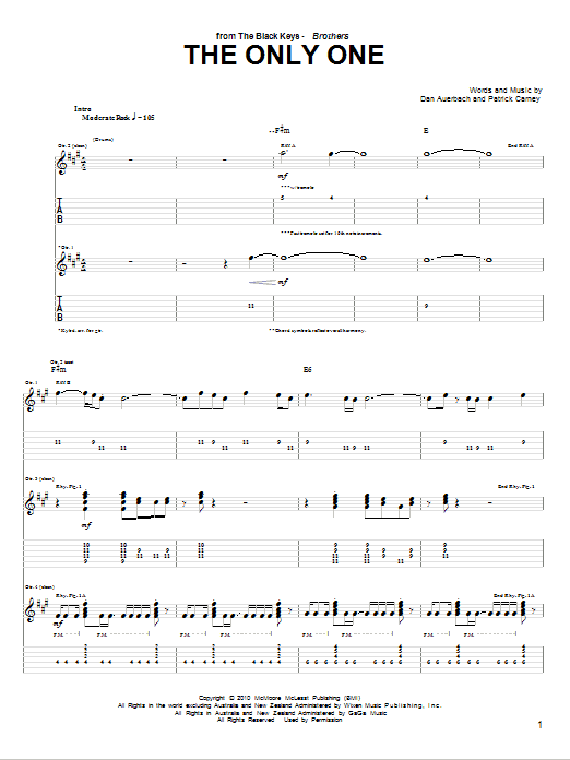 Tablature guitare The Only One de The Black Keys - Tablature Guitare