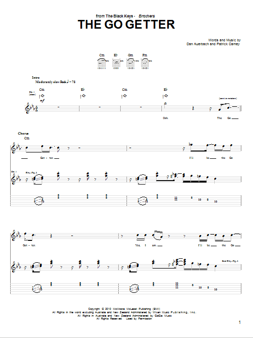 Tablature guitare The Go Getter de The Black Keys - Tablature Guitare