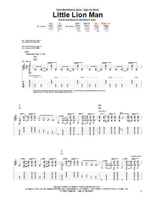 Little Lion Man Guitar Tab by Mumford u0026 Sons (Guitar Tab u2013 80164)