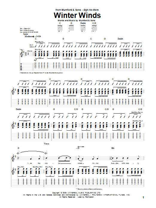 Tablature guitare Winter Winds de Mumford & Sons - Tablature Guitare