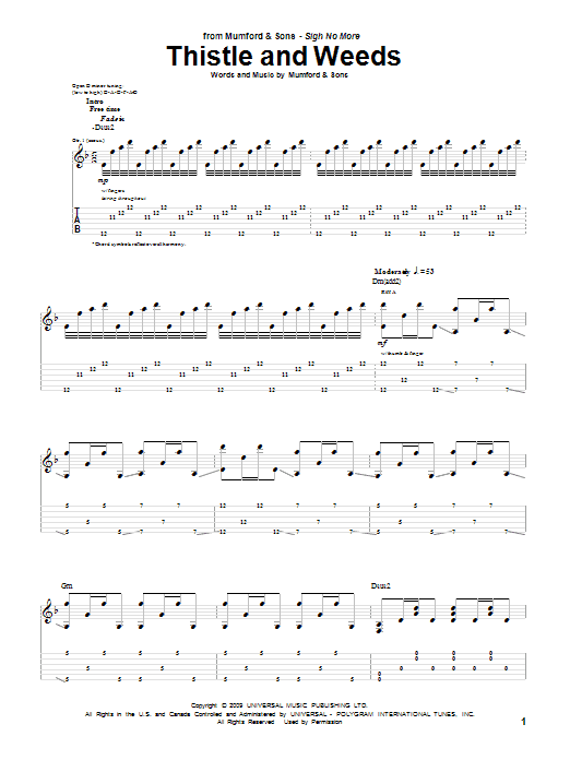 Tablature guitare Thistle & Weeds de Mumford & Sons - Tablature Guitare
