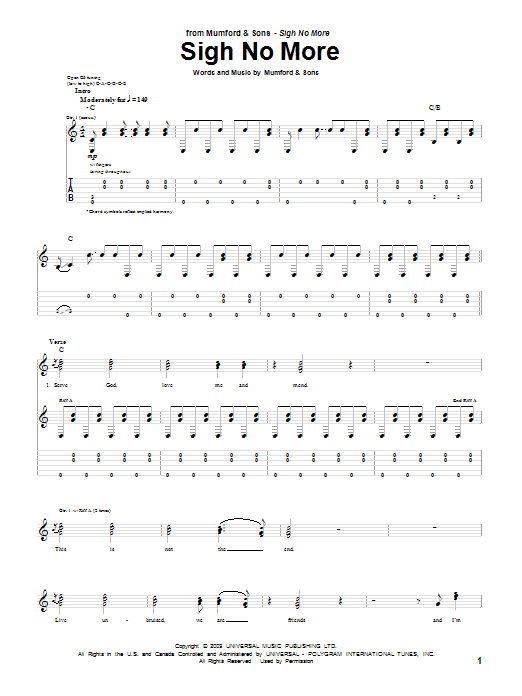 Tablature guitare Sigh No More de Mumford & Sons - Tablature Guitare