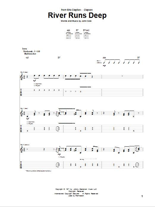 Tablature guitare River Runs Deep de Eric Clapton - Tablature Guitare