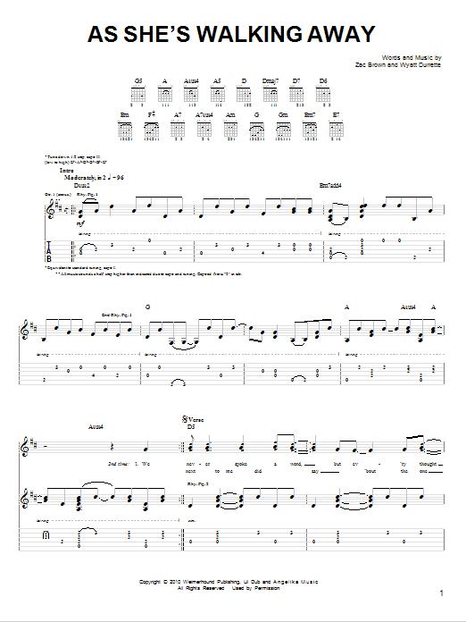 Tablature guitare As She's Walking Away de Zac Brown Band featuring Alan Jackson - Tablature guitare facile