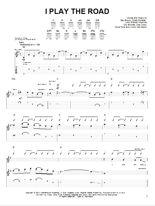 I Play The Road sheet music for guitar solo (chords) by Zac Brown
