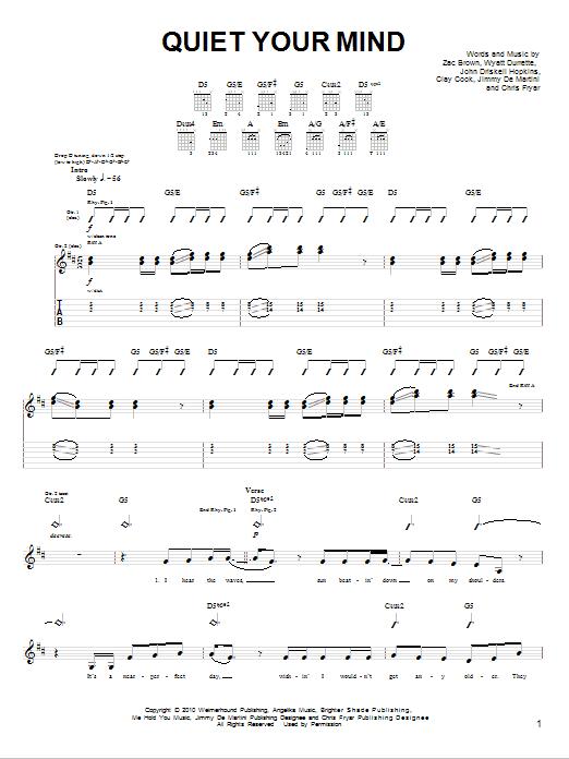 Tablature guitare Quiet Your Mind de Zac Brown Band - Tablature guitare facile