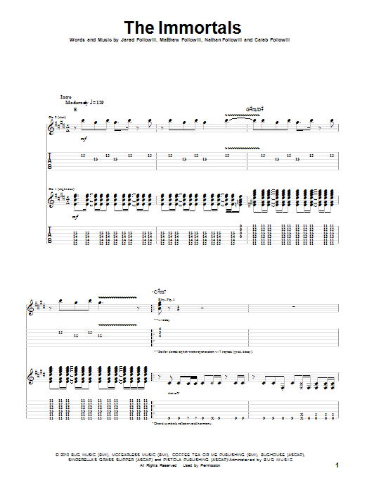 Tablature guitare The Immortals de Kings Of Leon - Tablature Guitare