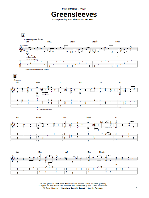 Tablature guitare Greensleeves de Jeff Beck - Tablature Guitare