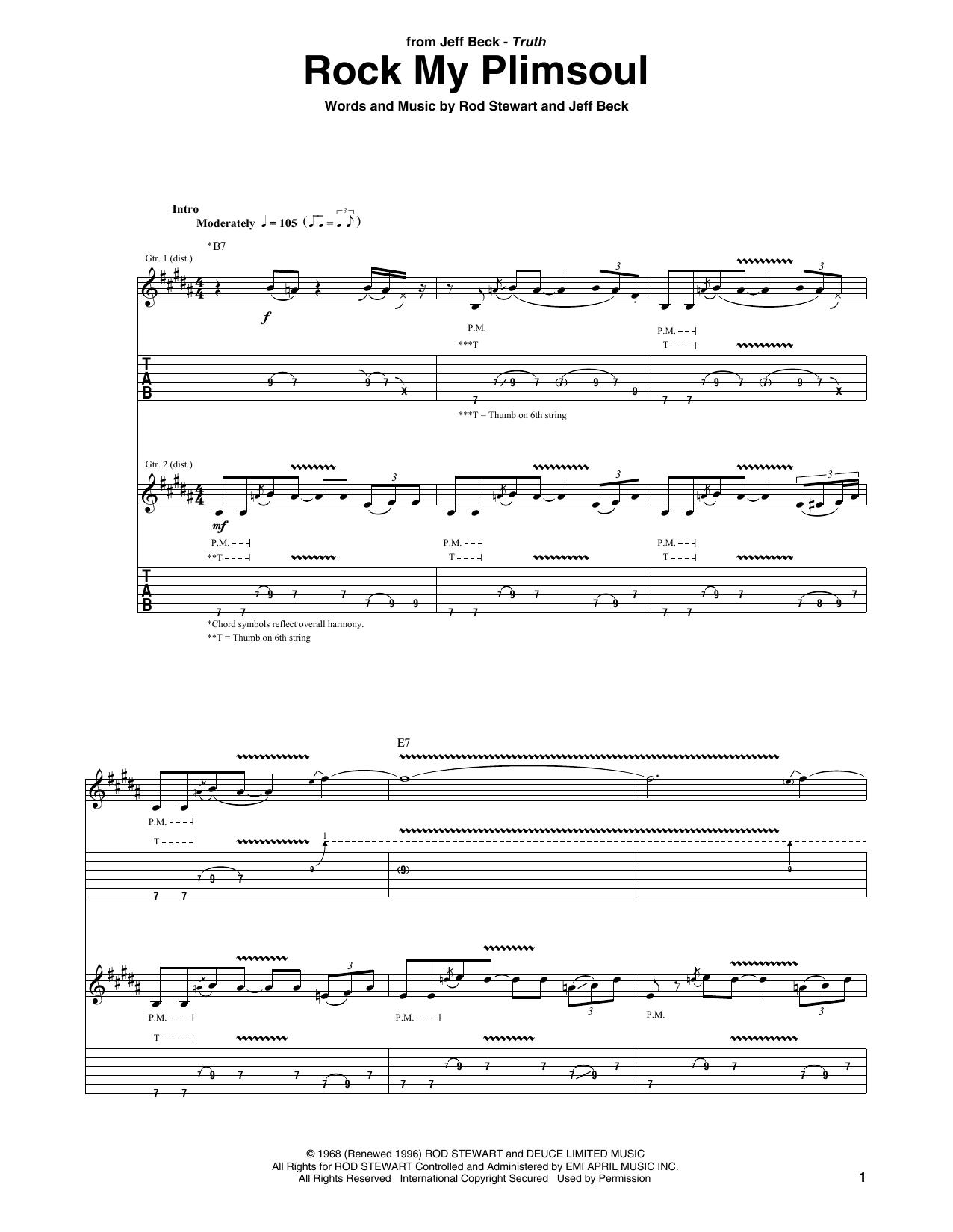 Tablature guitare Rock My Plimsoul de Jeff Beck - Tablature Guitare