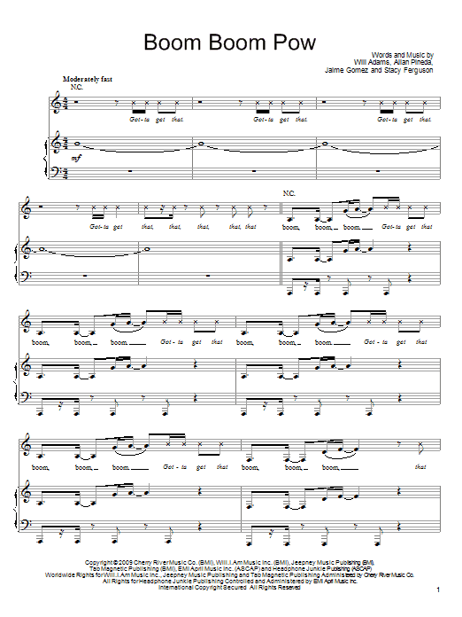 Boom Boom Pow sheet music for voice, piano or guitar by Will Adams