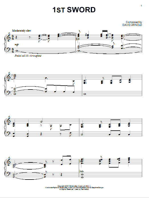 1st Sword sheet music for piano solo by David Arnold