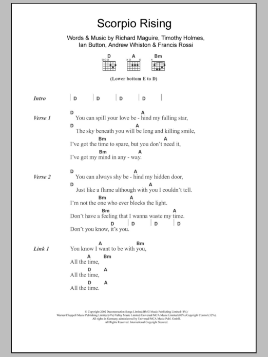 Scorpio Rising sheet music for guitar solo (chords, lyrics, melody) by Timothy Holmes