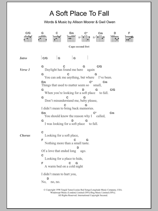 A Soft Place To Fall sheet music for guitar solo (chords, lyrics, melody) by Gwil Owen