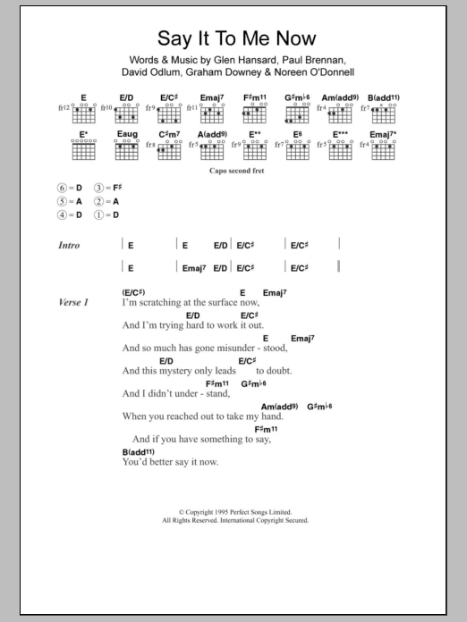 Say It To Me Now sheet music for guitar solo (chords, lyrics, melody) by Paul Brennan