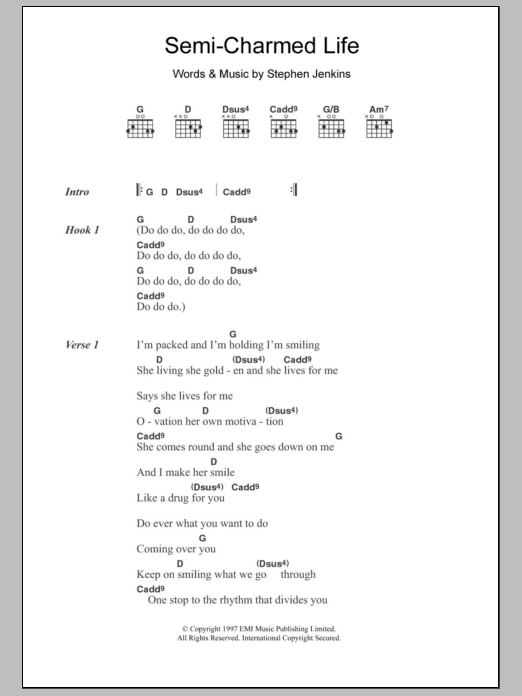 Semi-Charmed Life sheet music for guitar solo (chords, lyrics, melody) by Stephan Jenkins