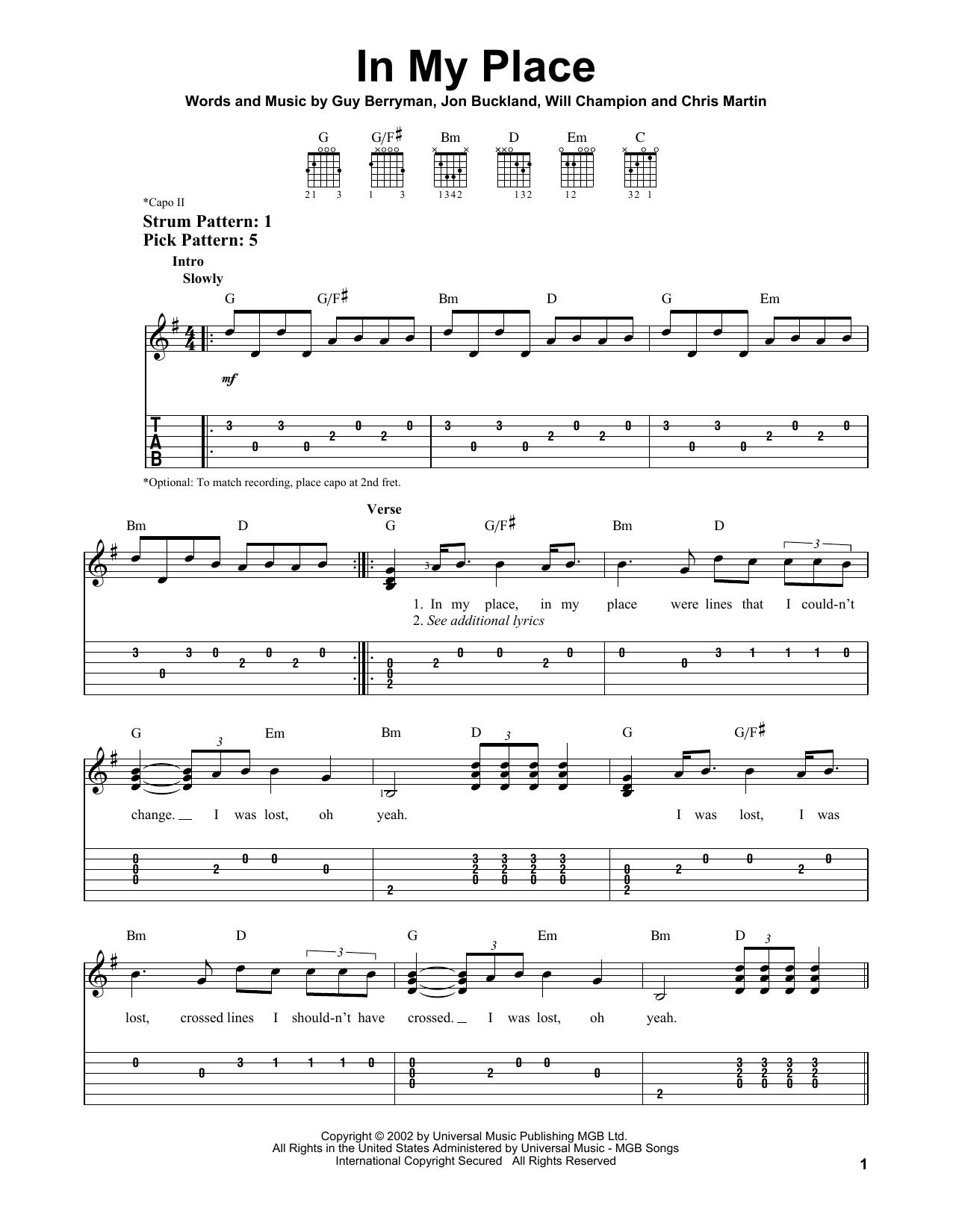 Tablature guitare In My Place de Coldplay - Tablature guitare facile