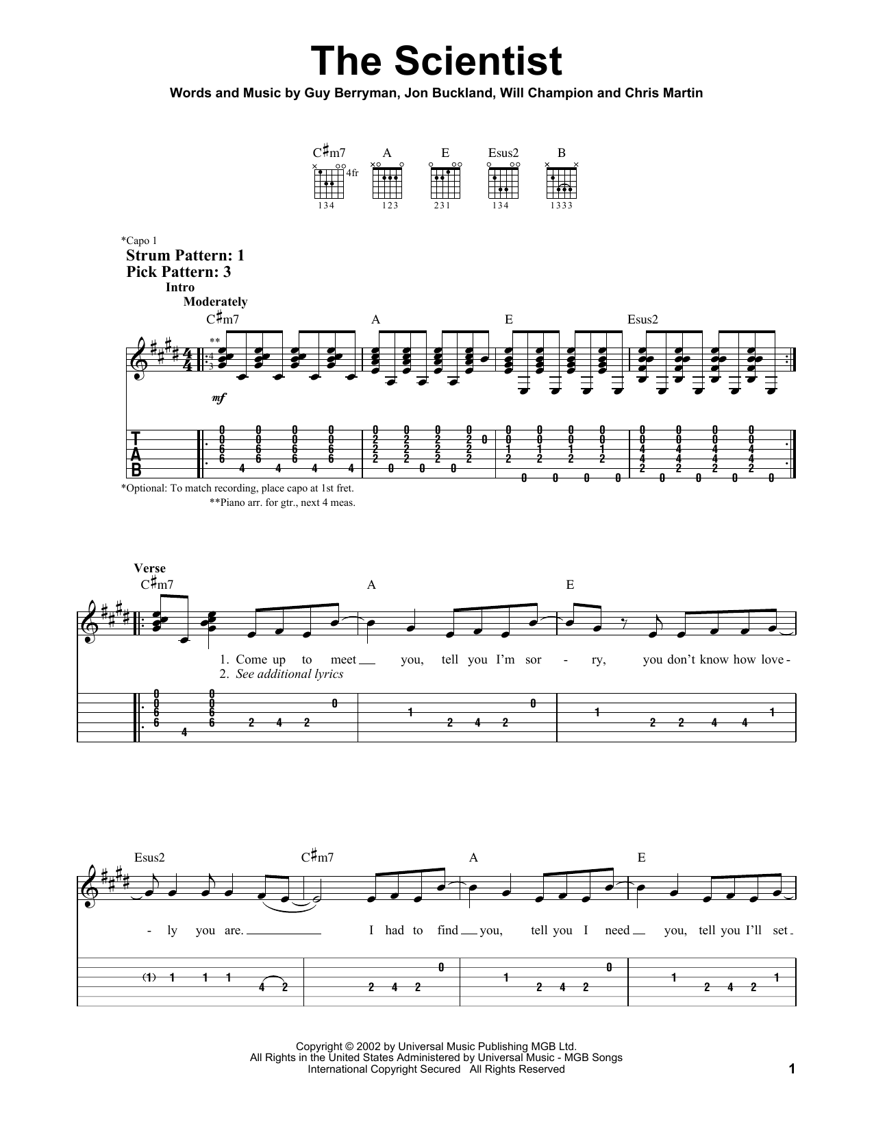Tablature guitare The Scientist de Coldplay - Tablature guitare facile