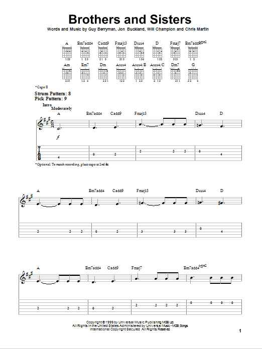 Brothers And Sisters sheet music for guitar solo (easy tablature) by Will Champion