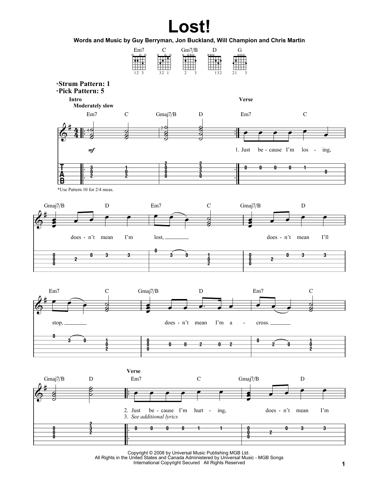 Tablature guitare Lost! de Coldplay - Tablature guitare facile