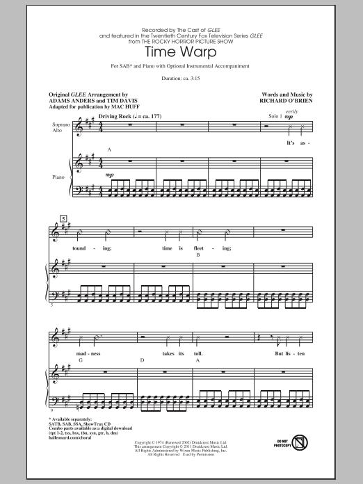 Partition chorale Time Warp de Glee Cast - SAB