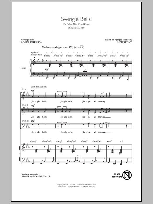 Partition chorale Swingle Bells! de Roger Emerson - 3 voix mixtes