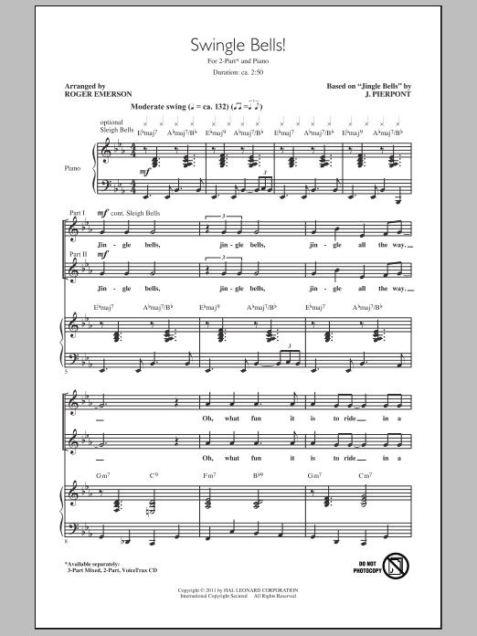 Partition chorale Swingle Bells! de Roger Emerson - 2 voix