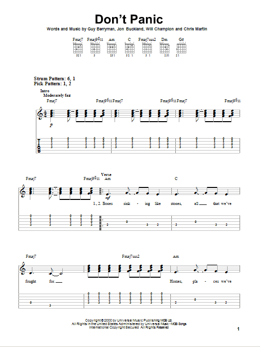 Tablature guitare Don't Panic de Coldplay - Tablature guitare facile