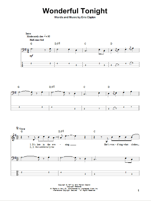 Wonderful Tonight Bass Guitar Tab by Eric Clapton (Bass Guitar Tab – 80550)
