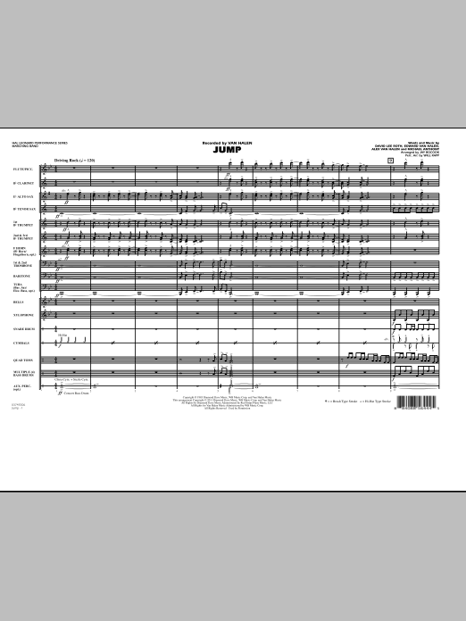 Jump (COMPLETE) sheet music for marching band by Alex Van Halen