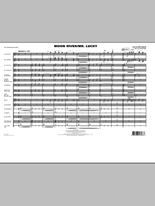 Moon River/Mr. Lucky (COMPLETE) sheet music for marching band by Paul Murtha