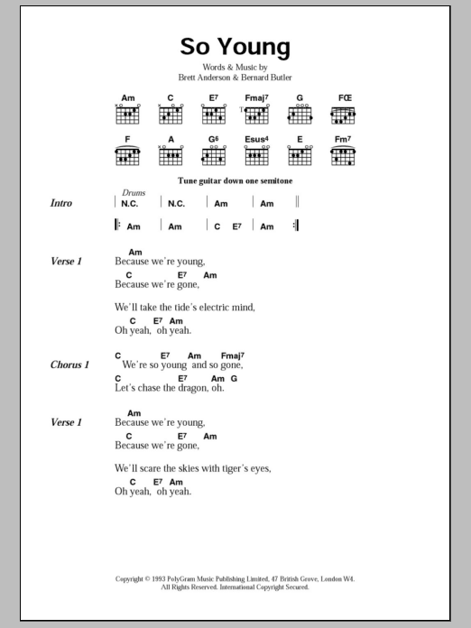 So Young sheet music for guitar solo (chords, lyrics, melody) by Brett Anderson