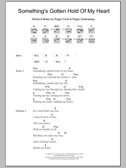 Something's Gotten Hold Of My Heart sheet music for guitar solo (chords, lyrics, melody) by Roger Greenaway