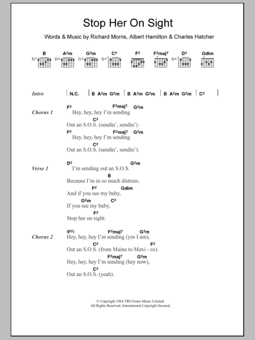 Stop Her On Sight sheet music for guitar solo (chords, lyrics, melody) by Richard Morris