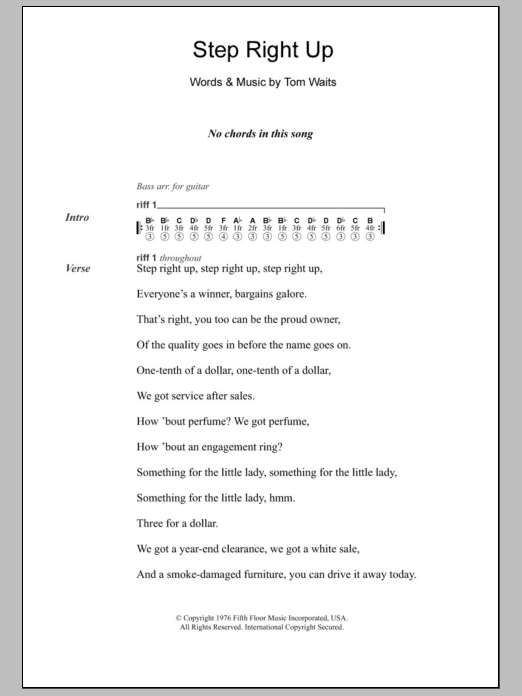 Sheet Music Digital Files To Print - Licensed Tom Waits Digital ...