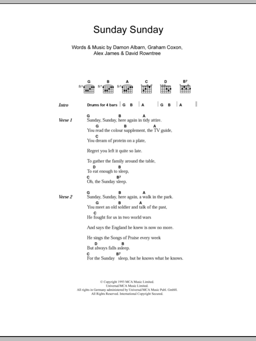 Sunday Sunday sheet music for guitar solo (chords, lyrics, melody) by Graham Coxon