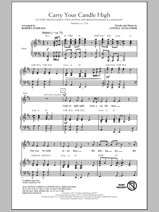 Carry Your Candle High sheet music for choir and piano (SATB) by Lowell Alexander