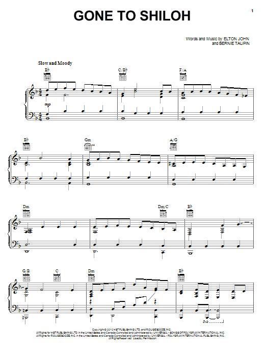 Partition piano Gone To Shiloh de Elton John & Leon Russell - Piano Voix Guitare (Mélodie Main Droite)