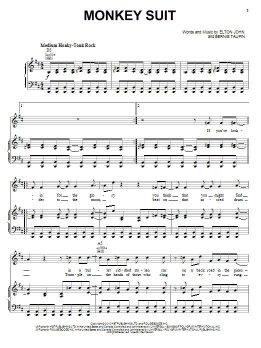 Partition piano Monkey Suit de Elton John & Leon Russell - Piano Voix Guitare (Mélodie Main Droite)