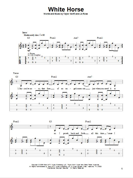 Tablature guitare White Horse de Taylor Swift - Tablature Guitare