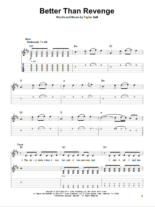 Tablature guitare Better Than Revenge de Taylor Swift - Tablature Guitare