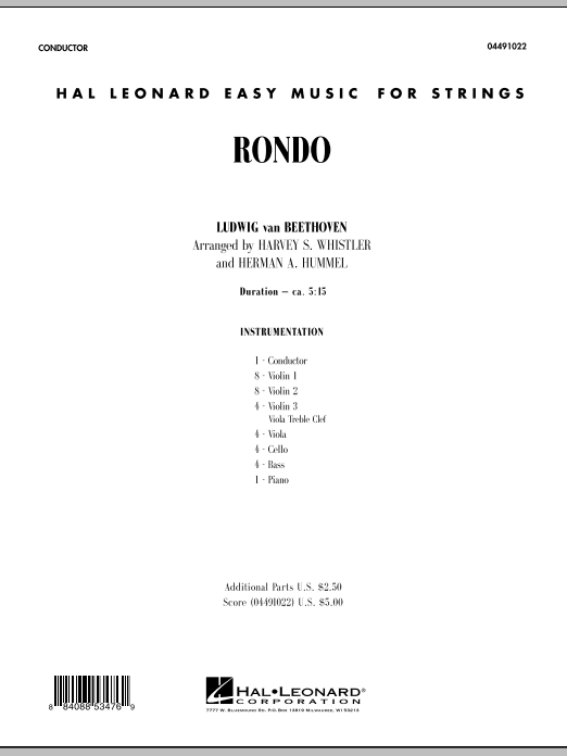 Rondo (COMPLETE) sheet music for orchestra by Harvey Whistler